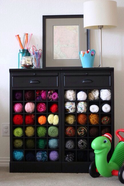 Wine Rack for Yarn Storage  Use a wine rack to store yarn. Beautiful and creative!