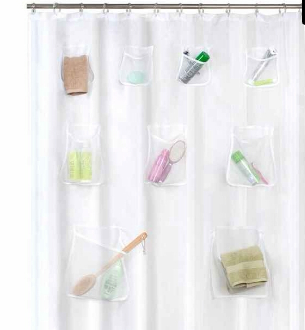 Organizing shower curtain with nine pockets in three sizes for your personal care items. ($19.85)  http://www.amazon.com/gp/aw/d/B003ZHVDAG/ref=mp_s_a_1_1?qid=1455665870&sr=1-1&pi=AC_SX236_SY340_FMwebp_QL65&keywords=maytex+mesh+pockets+peva+storage+shower+curtain+clear