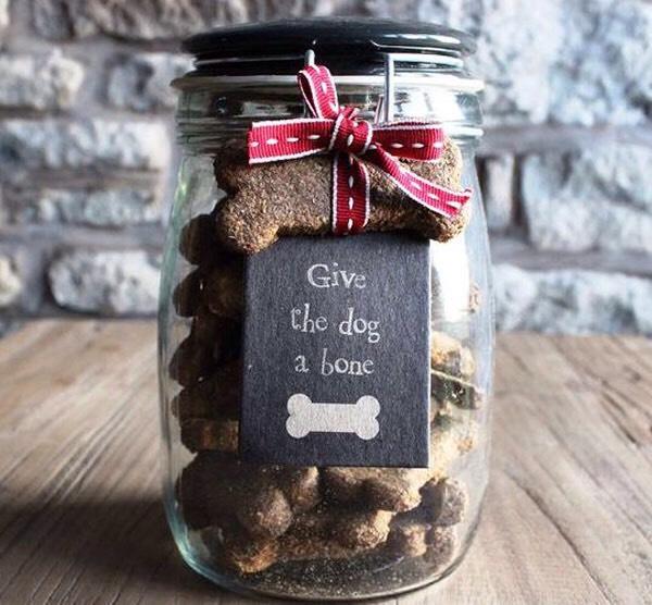 Dog bone biscuits in a jar