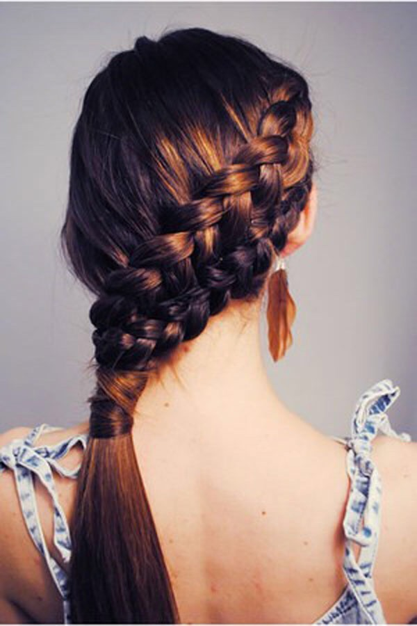 8.Two side French braid into ponytail
