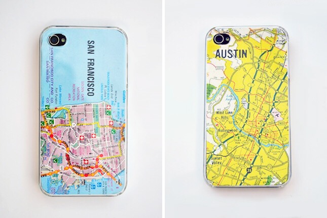 6. Map Cases: First, cue up Maps by the Yeah Yeah Yeahs. Now that you're grooving, how fun are these map cases? These are made by cutting a map to size and placing under a clear phone case. Genius!