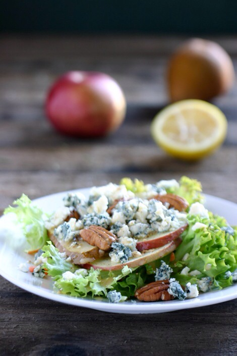 Apple Pear Gorgonzola SaladStinky cheese alert! If you can get past the smell, gorgonzola makes a great addition to any salad with fruit. The sweet and tang are a match made in heaven!