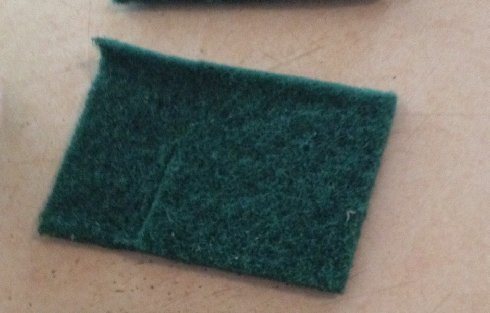 """You will also need a """"Scotch"""" scrub pad... They come in a large size, so I always cut them into fours! You don't need the whole thing, so put away the others for when you need them next :)"""