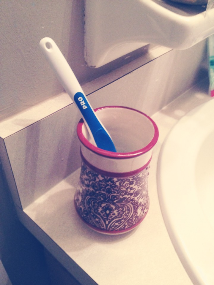 Leave your toothbrush soaking in this mixture overnight so when you use it in the morning it is absolutely clean.