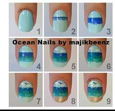 starting with the beach themed nails is a great design for summer