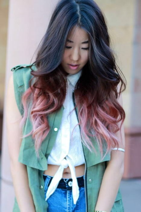 Dark ombre into pastel pink makes the transition into Spring and Summer beautiful and happy!!!