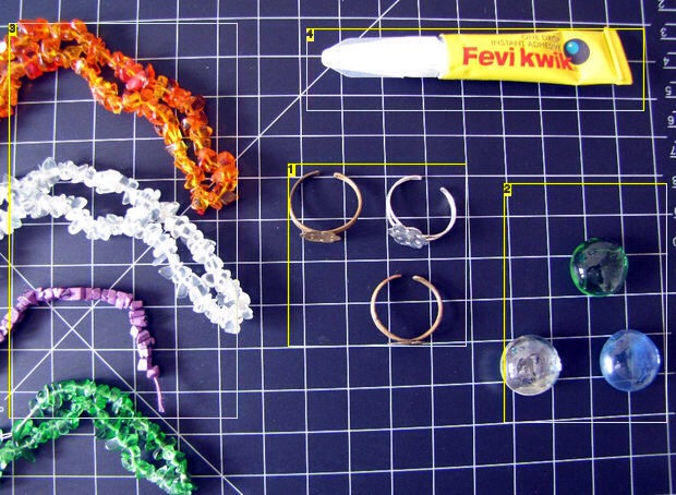 Step 1: Stuff you need  Blank Rings Aquarium Glass Pebbles Stones chip, various colors. They usually come beaded in strings. Instant one drop adhesive.