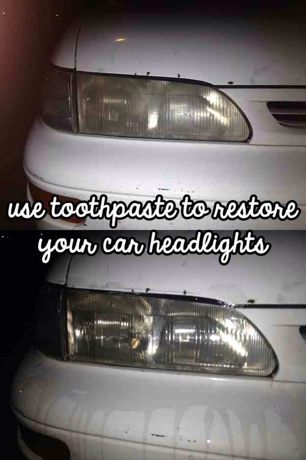 Restore your old car headlights with toothpaste.   Just put a little toothpaste on a sponge, and scrub the lights in a circular motion. Pour water on the lights, and wipe off excess toothpaste with a paper towel.