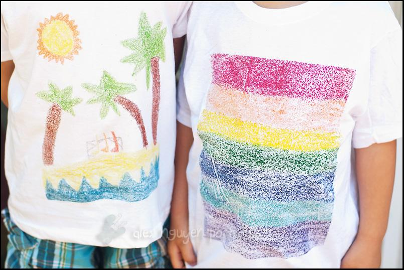 T-Shirts.  These sandpaper art t-shirts are awesome.  What a great way to showcase kids art work.