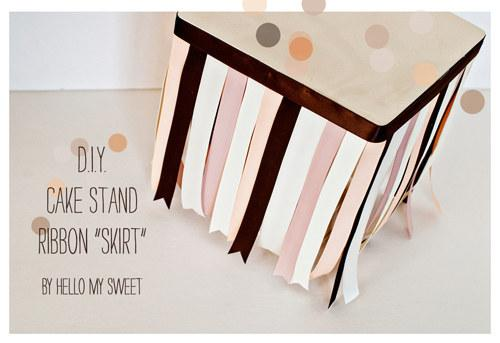 use ribbon to upgrade your cake stand