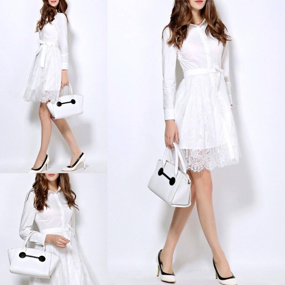 $58.99 http://m.romwe.com/White-Lapel-Tie-Waist-Contrast-Gauze-Lace-Dress-p-150476-cat-664.html