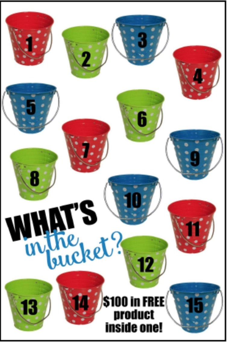 one of these buckets has $100 of free products in it. For your chance, email me at rebeca.garcia6@yahoo.com