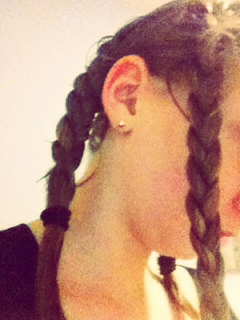 Then do two French plaits on the other side to make three plaits