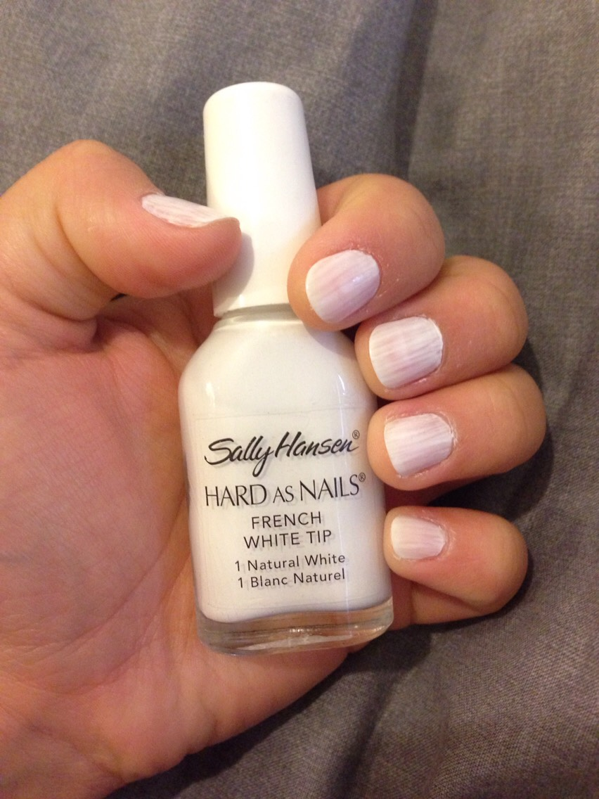 If you have a decent white polish. Apply a base coat to allow the White colour to be applied onto an even surface. If you have a stubborn white colour. Apply a thin French nail polish as a base first.