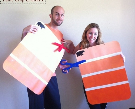 Paint card costumes! Instructions here - http://handmakemyday.com/2011/10/28/diy-paint-chip-halloween-costumes/