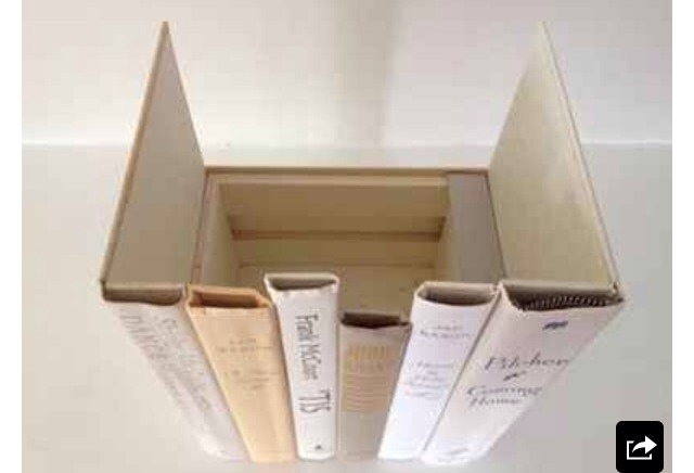 10. Hide your valuables or router in the fake book bindings.