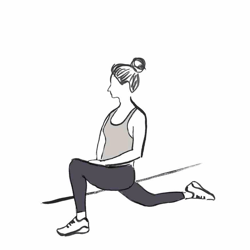 HIP FLEXOR STRETCH Put one knee on the ground in a kneeling position, while the other foot is extended straight behind you. Press your pelvis forward.