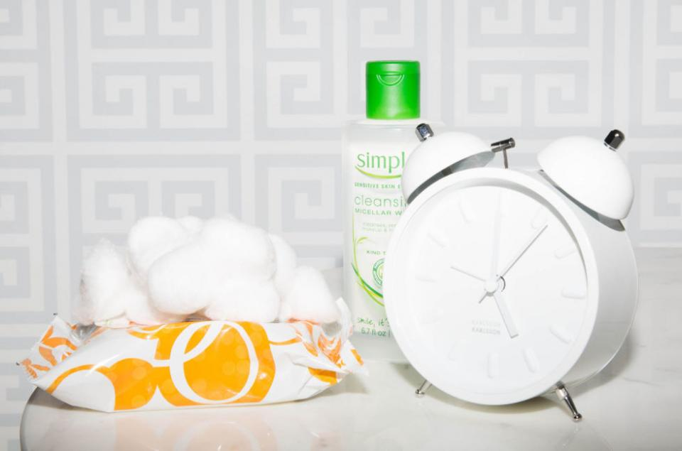 1. Keep makeup remover next to your bed so you have zero excuses not to take off your makeup before you go to sleep.