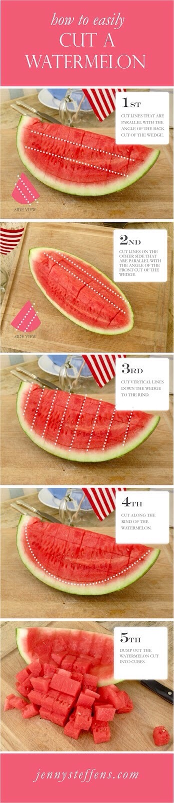 11. How to Perfectly Cut a Watermelon Step1: cut lines that are parallel with the angle of the back cut of wedge. Step 2: cut lines on the other side that are parallel to the angle of the front cut Step 3: cut vertical lines down the wedges Step 4: cut along the rind Step 5: dump out the cubes