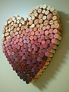 -> Save up your old wine corks and glue it into a heart shape.