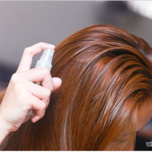 STEP 4. Using a spray bottle, get your hair wet by section. YOU WANT YOUR HAIR DAMP NOT SOAKED.