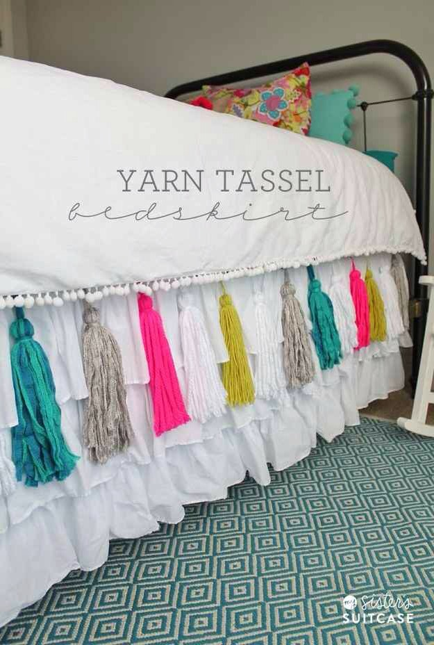 14. Attach some simple yarn tassels to your bedskirt.