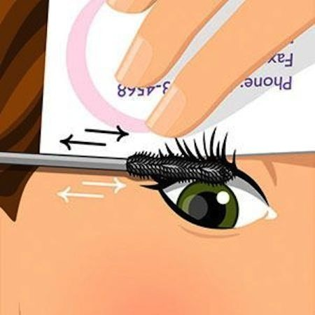 When applying mascara, hold a business card behind your lashes and apply it in a back and forth motion starting at the roots. You can really put it on this way, coating every lash fast!
