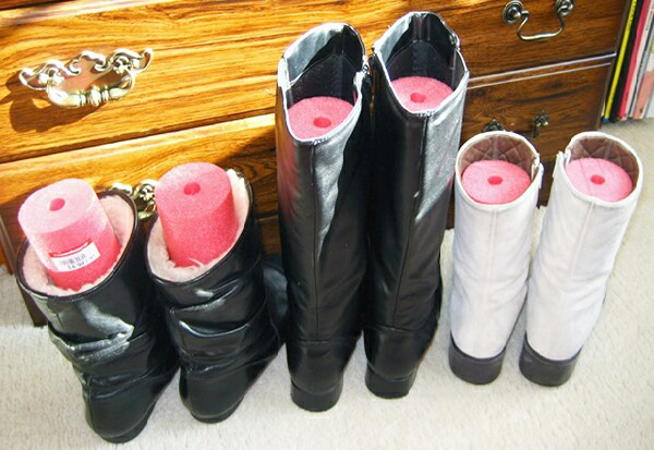 Cut pool noodles to fit the length of your boots to keep them upright.