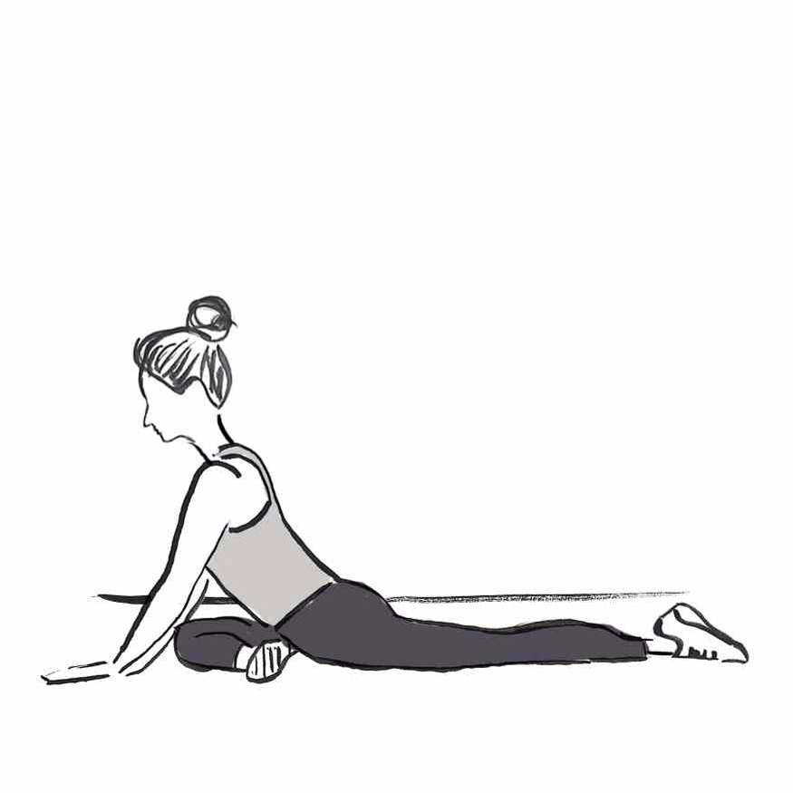 PIGEON STRETCH Starting on all fours, slide your right knee forward toward your right hand. Slide your left leg back as far as your hips will allow, keeping your hips squared to the floor. Hold and then switch legs.