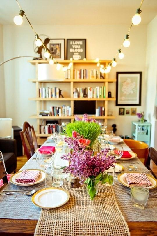 16. Another trick: Forgo a pendant light or chandelier over the dining table and just go full-on string lights.