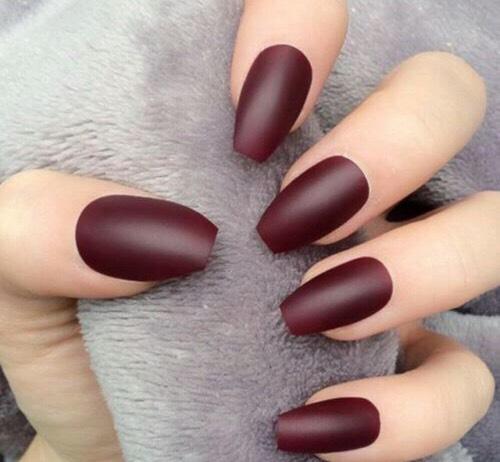 Beautiful Marroon short coffin nails