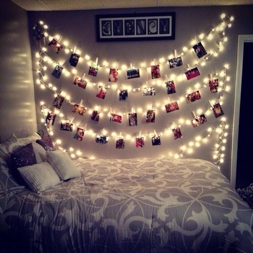 Polaroids are super cute! Pictures of you and your friends or family can be hung on your lights or even by just a string!