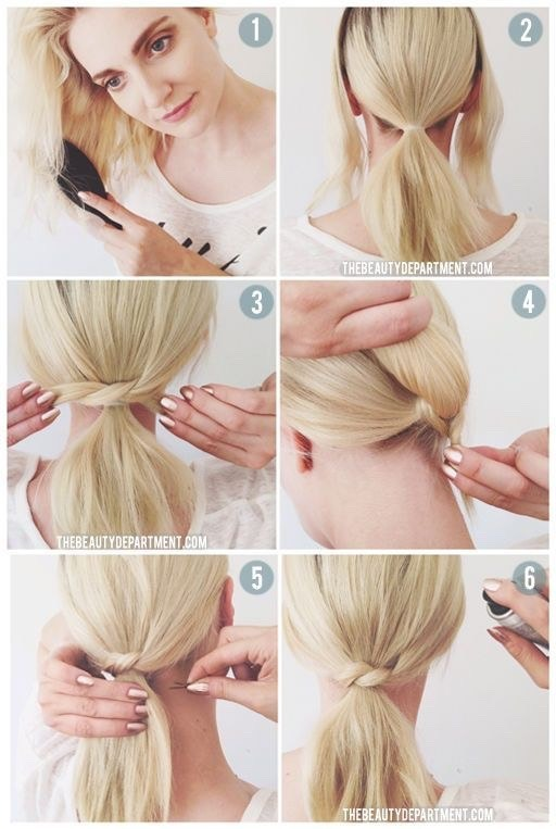 HACK 3  Leave a small section of hair from each side out, then put your hair in a low ponytail. Using the two pieces from the side, cross them over and tie them through one another - securing with a bobby pin.  This look is simple but adds a little variation to your ponytail.