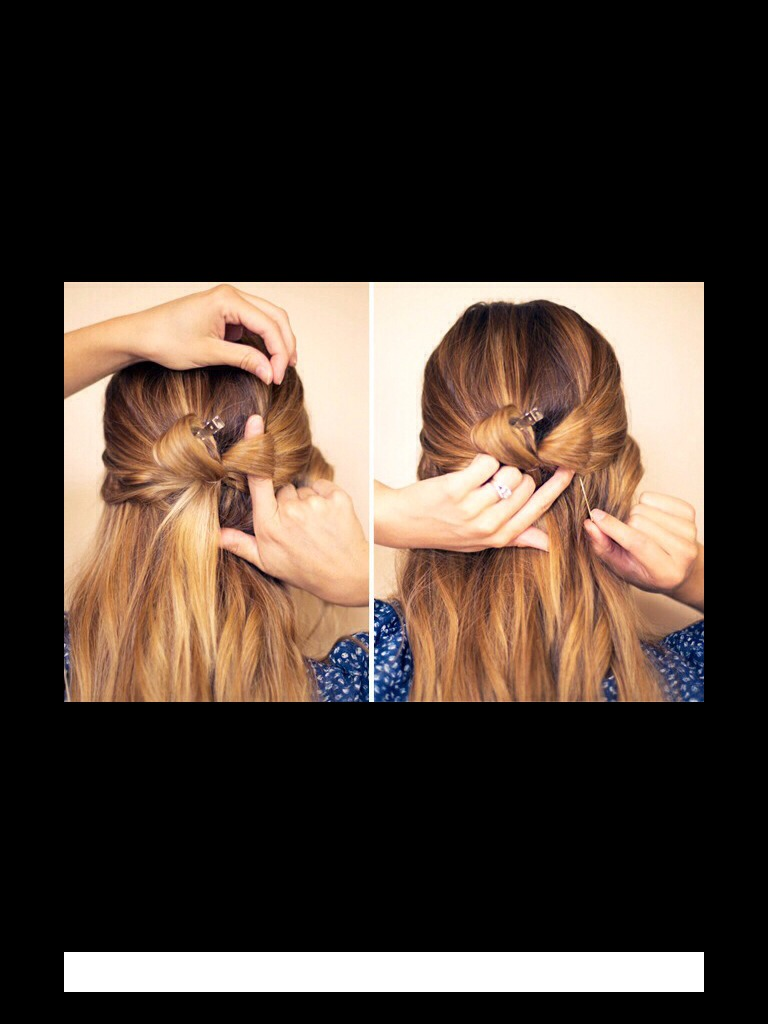 Now, take one of the loops and clip it to your head, then take the other one and bobby pin the top and bottom to form the bow shape then repeat to the other loop