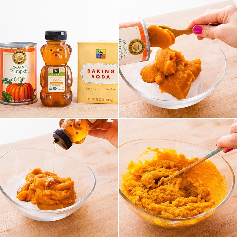 INSTRUCTIONS  So baking soda kinda came out of left field, right? It's an extremely gentle exfoliant, so this scrub is great for those with super sensitive skin. Mix it together with pumpkin pulp + honey + you're done.(PS: As tempting as this pumpkin scrub may look, don't try to taste it—baking soda is NOT a palette pleaser!).