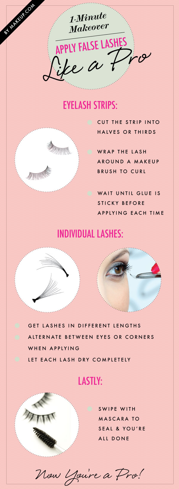 Apply false lashes like a pro.