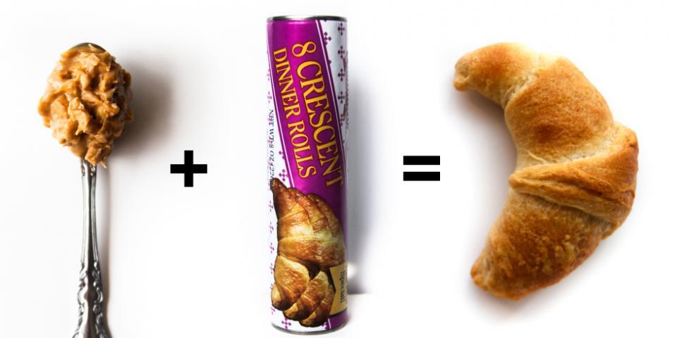8. Crunchy Peanut Butter + Crescent Dinner Rolls = Peanut Butter Stuffed Croissants