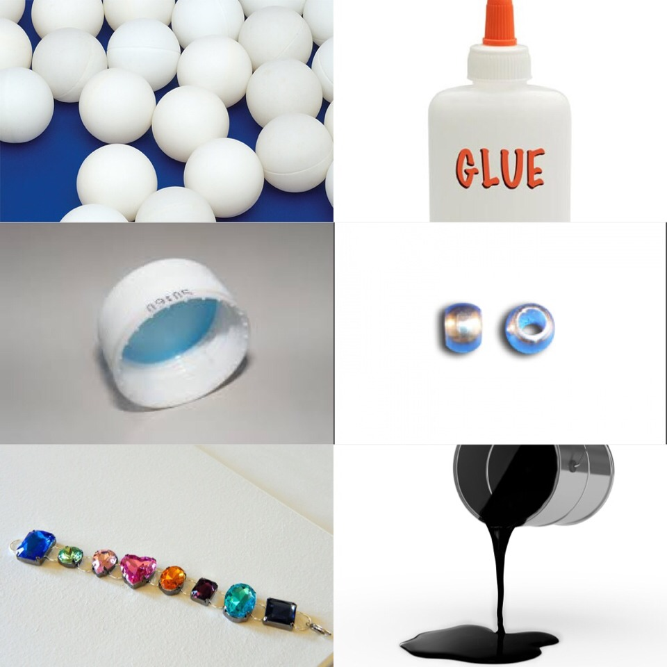 You will need these materials; a ping pong ball, glue, plastic bottle cap, a bead, jewels and black paint