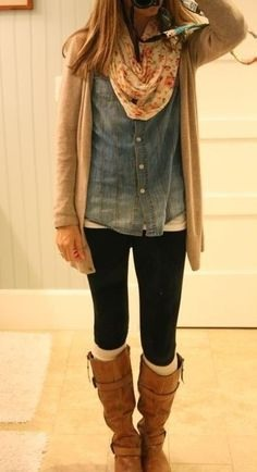 Leggings boots and a shirt w/ a  cardigan is a cute but comfy outfit for the fall