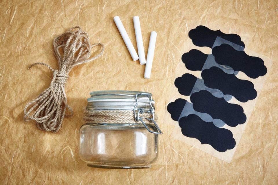 Decorate This scrub makes a great activity for a bridal shower. You can use glass mason jars, chalkboard stickers, and twine to customize these party favors.