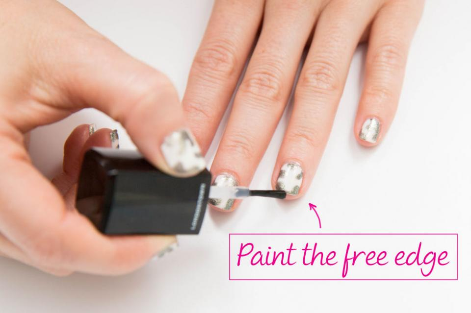 "8. Don't skip the ""free edge"" of your nails. Run the basecoat, paint, and topcoat around the edge to ensure your entire nail is sealed."