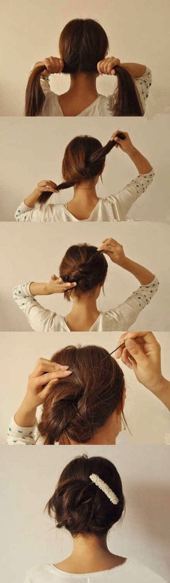 A 20-second updo — split, knot