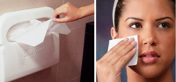 Use a toilet seat cover to blot the oil from a greasy face