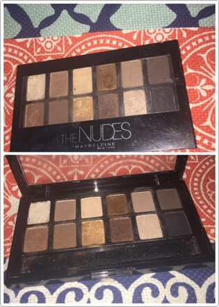 Maybelline The Nudes Palette($10) This palette has everything you need in it to do a smokey eye or a natural every day look. The glittery colors can even double as a highlighter and because my eyebrows are darker I can use the brown colors to fill in my eyebrows.