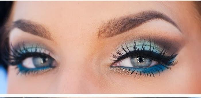 Add a bright blue on the waterline and just under the bottom lashes for a bolder look!