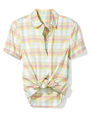 Summer Plaid Channel preppy cuteness in a pastel plaid tie-waist top.  LLBean Signature plaid shirt