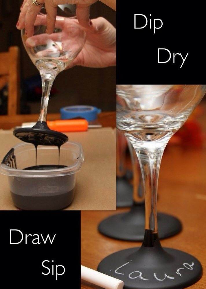 Dip wine glasses in chalkboard paint for easy wedding favors, or easy to use party glasses