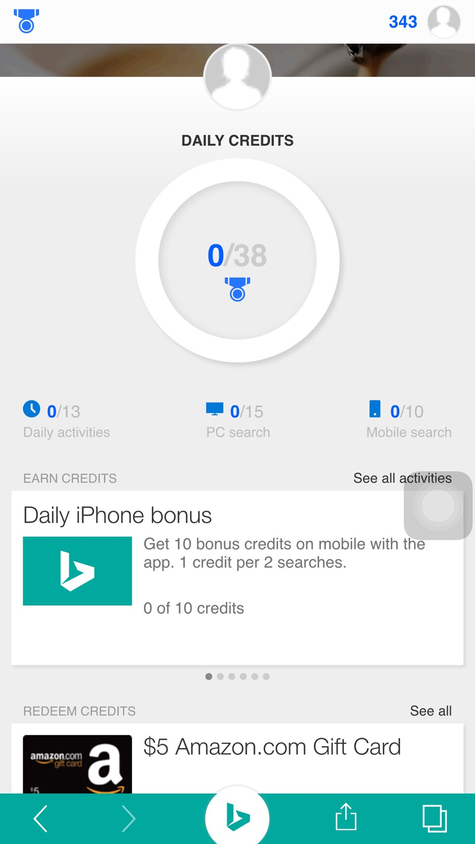 Using Bing app to search