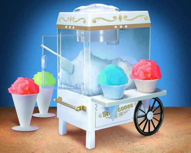 Personal snow cone machine that you can find at amazon.com for 29.99