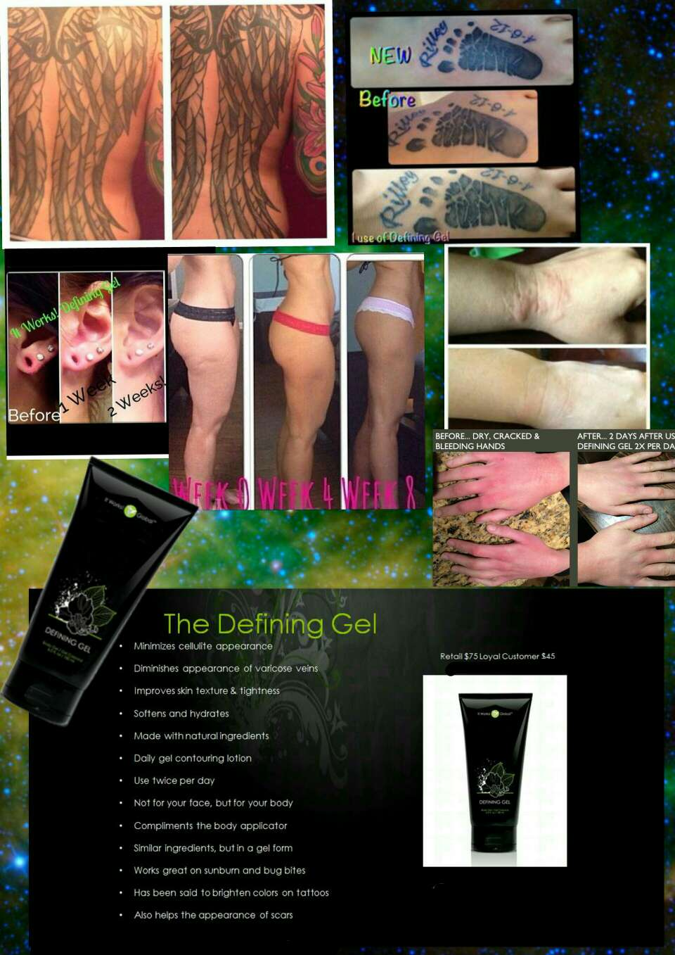 our Defining Gel is one of our most popular products it helps with so many things...  ◈ eczema ◈ veins ◈ soften ◈ hydrates ◈ cellulite ◈  brighten up your tattoos  And so many more